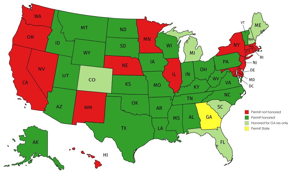 Georgia Concealed Carry Reciprocity Map US Gun Class   Georgia Reciprocity Map